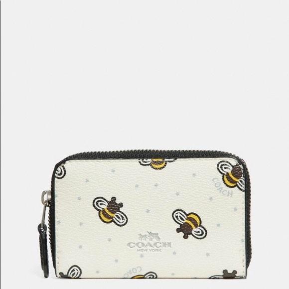 1b6c50dcf357b2 Coach Accessories   Bnwt Zip Around Coin Case With Bee Print   Poshmark